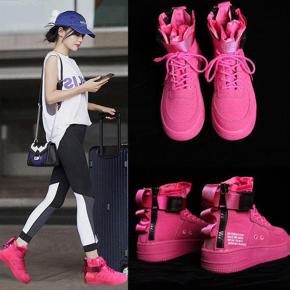 Ins women's shoes port wind super fire shoes air force one street dance high-top sneakers hip-hop rose red canvas shoes tide