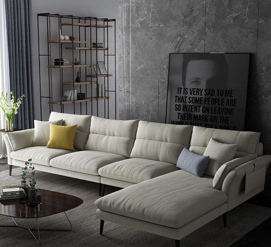北欧格调客厅大小户型轻奢极简现代简约转角L型组合意式布艺沙发
