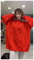 韩版时尚菱形麻花慵懒大红色毛衣女本命年中长款套头毛衣针织裙