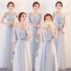Bridesmaid dress long paragraph 2017 new autumn and winter bridesmaid dress gray slim sisters skirt was thin graduation evening dress