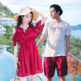 蜜月情侣装沙滩裙夏装2018新款海滩连衣裙你衣我裙海边度假套装
