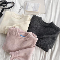 RENA basic solid color thick warm and soft good texture winter loose thin wild round neck knit sweater