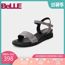Picture of Belle's one character belt slope sandals women's 2019 new summer shopping mall's same flash diamond casual sandals 3ez30bl9