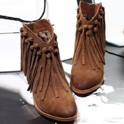 春秋单靴磨砂真皮中跟流苏靴圆头粗跟马丁靴潮女短靴擦色英伦裸靴
