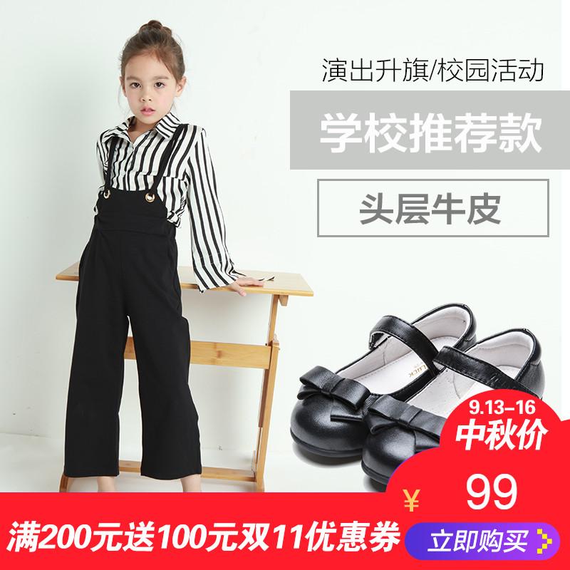 斯乃纳至悦 女童皮鞋黑色春秋款公主鞋儿童小学生单鞋女孩演出鞋