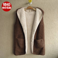 2018 autumn and winter Korean fashion in the long section two wear thickening lamb plush vest hooded vest jacket female vest