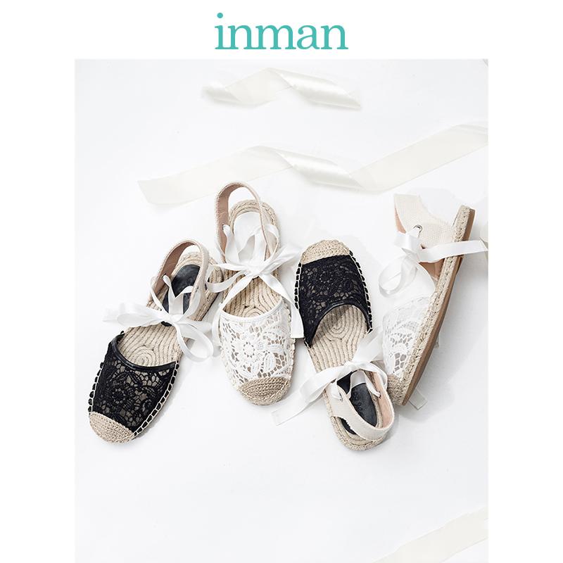 茵曼女鞋2019夏季新款度假波西米亚鞋绑带蕾丝凉鞋沙滩鞋女草鞋