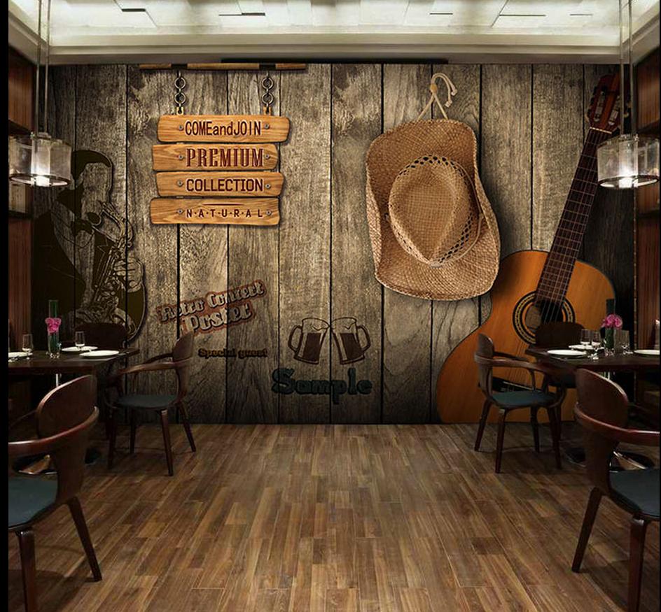 欧美风格室内装�_欧美乡村风格复古木纹吉他涂鸦墙纸咖啡店餐厅酒吧个性背景墙壁纸