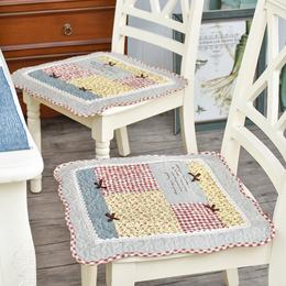 全棉四季透气薄餐椅垫子布艺坐垫办公室电脑椅垫冬季带绑带防滑