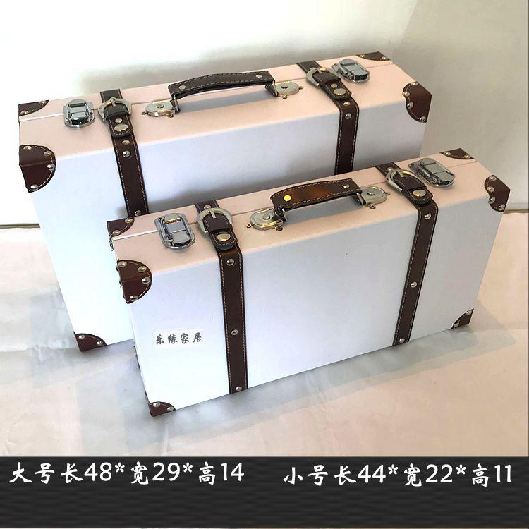 复古旅行箱仿古木箱家纺橱窗摄影道具手提箱 行李箱定做仿古皮箱