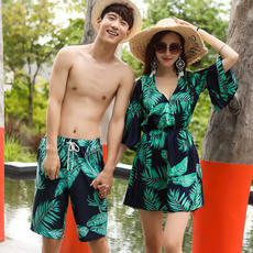 Couples Swimsuit Bikini Three-piece Blouse Small chest Gathering Hot springs Covered belly Thin Sexy Conservatism Male swim trunks