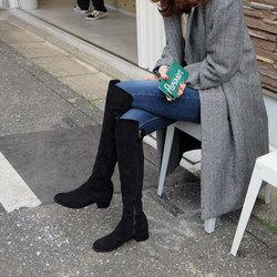 过膝长靴女2018新款韩版百搭粗跟瘦腿弹力靴秋冬中跟长筒靴高筒靴
