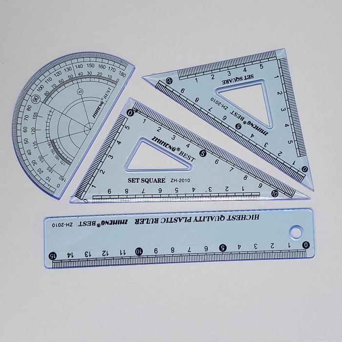 卡通学生套尺 塑料直尺三角尺量角器尺子套装 学习文具四件套