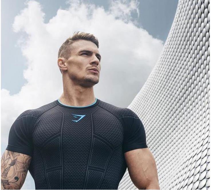 肌肉兄弟运动T恤型男弹力透气健身衣短袖跑步健身训练服打底上衣