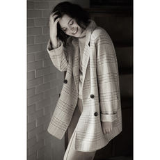[DY116045VL] Xiaohan Pavilion Good to wear a long hand! British noble plaid silhouette long wool coat