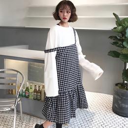 2018春季新款女装学生韩版ulzzang宽松背带群格子中长过膝连衣裙