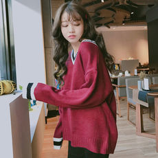Autumn new Korean ulzzang loose wild v neck hit color bottoming shirt lazy shirt sweater sweater women