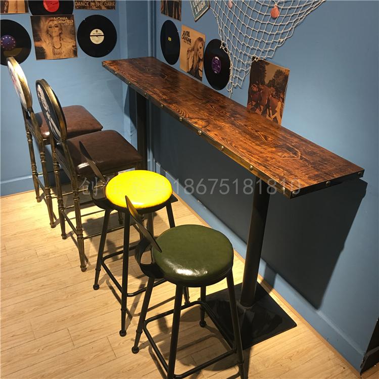 美式复古铁艺高吧椅 高吧桌 咖啡厅酒吧吧台奶茶甜品店冷饮店桌椅