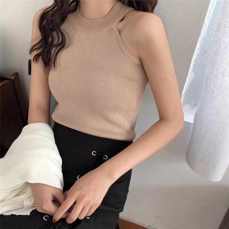 春装新款女装韩版chic风露肩无袖挂脖针织衫气质修身短款打底背心