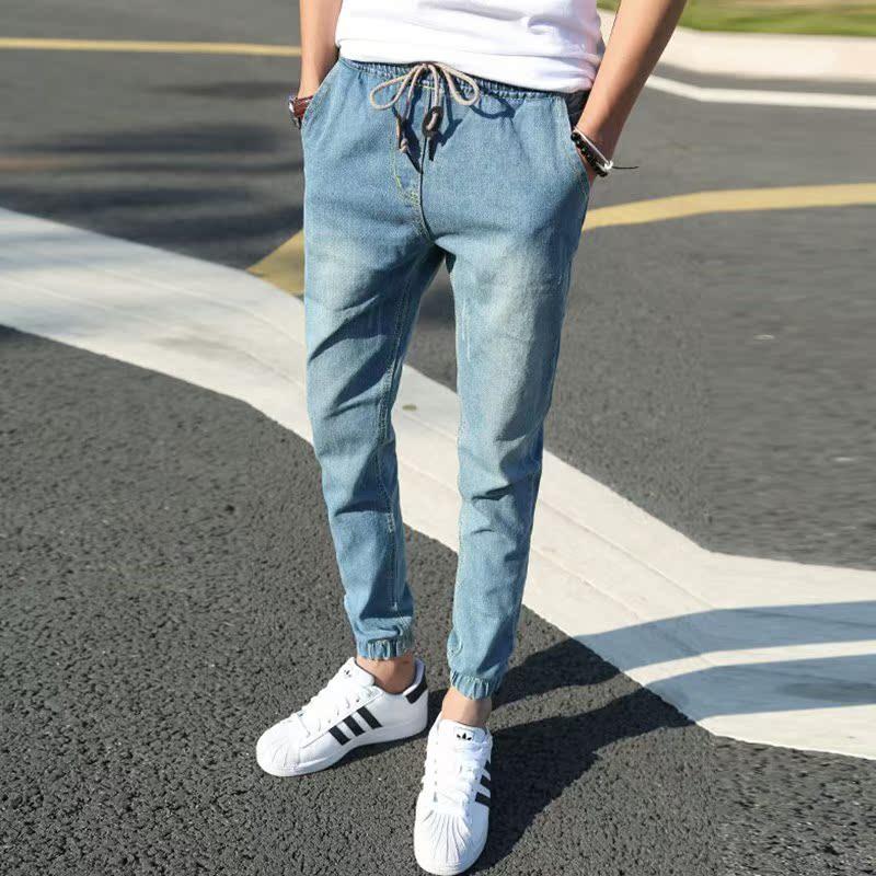 2018新款夏季薄款收脚宽松紧腰学生九分牛仔裤男束脚小脚缩口束腿