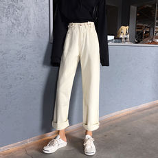 Spring Korean version of the retro loose adjustable buckle jeans high waist wide leg pants straight pants trousers student pants female