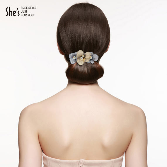 Huishes hair accessories handmade two-color embroidery flower hairpin hairpin imitation pearl spring clip horizontal clip ponytail clip headdress