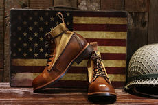 Ami咔叽 retro old leather bulk tooling paratrooper Martin short canvas boots men and women leather high shoes tide