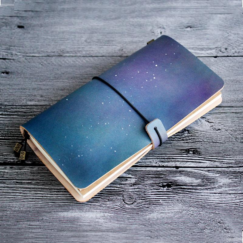 如玮2017创意星空旅行笔记本记事本牛皮便携tn手账本图片