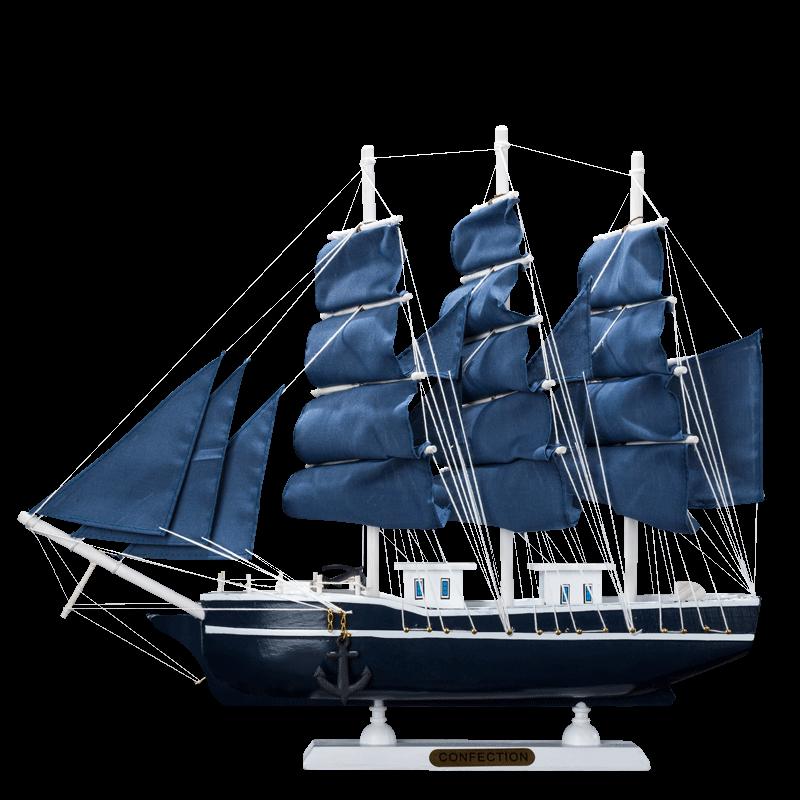 木质帆船模型摆件地中海客厅家居装饰品一帆风顺小工艺船手工制作
