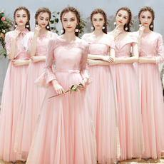 Bridesmaid dress 2018 new winter sister dress long bridesmaid group girlfriends small dress was thin annual meeting evening dress