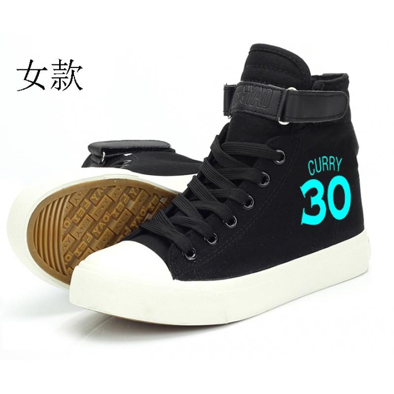 NBA篮球标志库里詹姆勇士公牛骑士帆布板鞋休闲单鞋男女学生鞋子