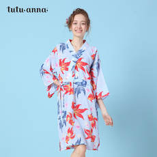 Tutuanna nightdress female spring and summer new style is very flat Goldfish dot floral pattern cotton kimono counter with same paragraph