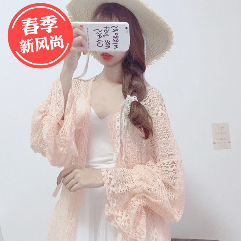 春夏新款女装韩版学生蕾丝宽松灯笼袖长袖中长款防晒衫薄款雪纺衫