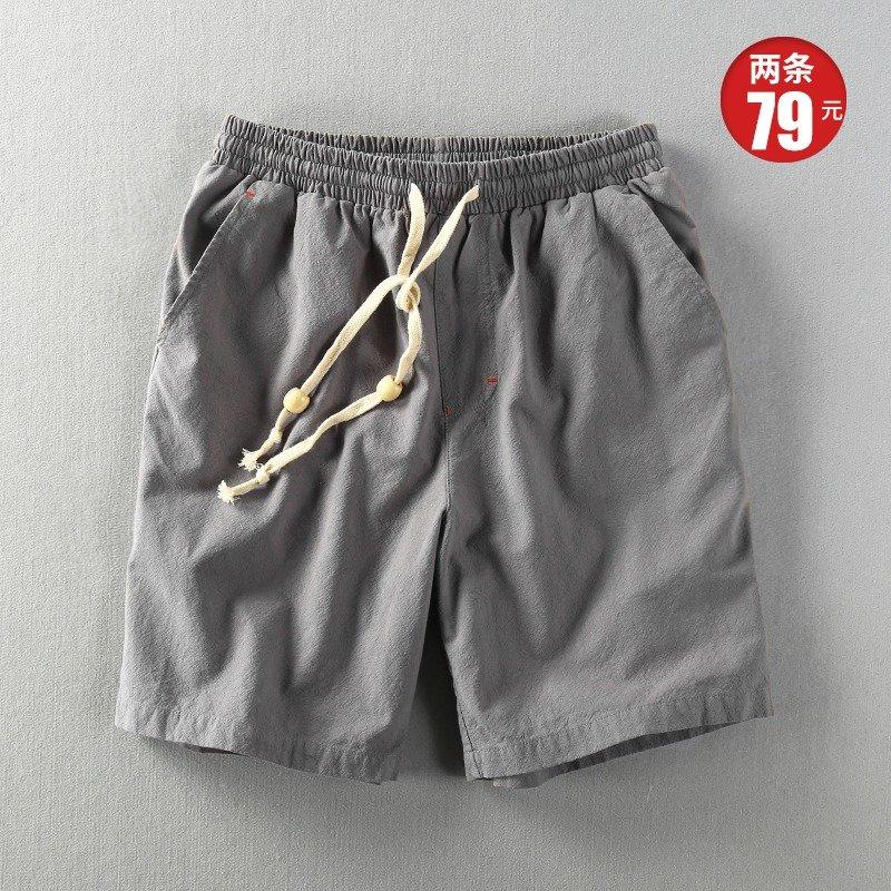 夏季宽松短裤男士休闲亚麻五分裤棉麻中裤水洗松紧麻布透气沙滩裤
