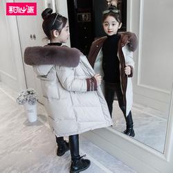女童棉衣2018新款冬装中长款外套儿童韩版洋气女孩棉袄加厚棉服潮