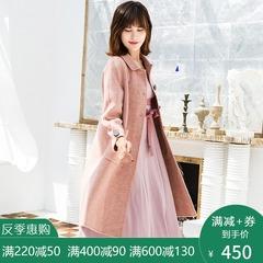 反季特价阿尔巴卡格子呢大衣女中长款韩版冬双面羊绒毛尼外套A版