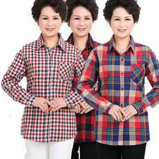 Cotton middle-aged shirt female mother loaded cotton plaid long-sleeved shirt spring and autumn loose large size shirt XL