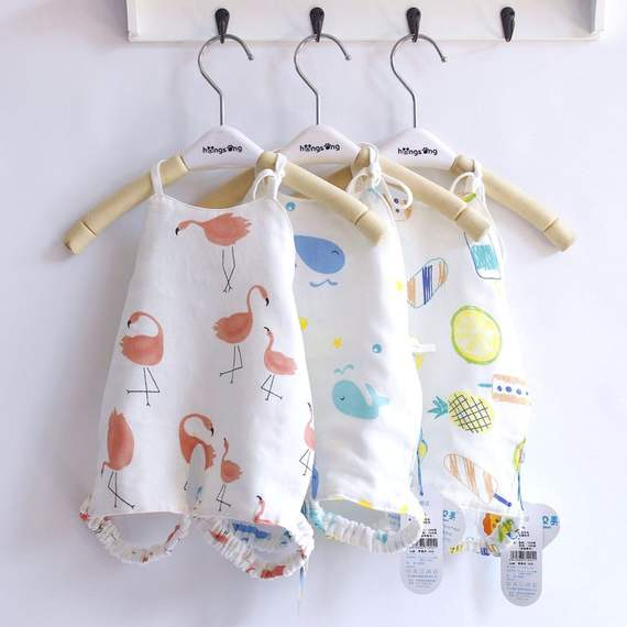 Aobeimei cotton baby apron pocket care belly gauze baby even foot apron children with legs protection belly thin summer