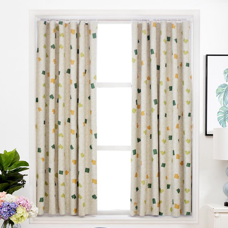 简易窗帘免打孔安装遮光出租房宿舍简单短帘北欧简约现代窗帘定制
