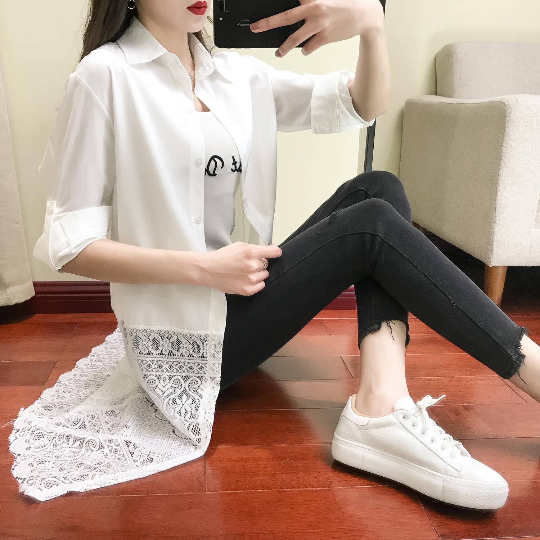 2018春装新款女衬衫长款长袖白色雪纺裙polo衫女女神范衣服衬衣裙