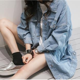 2017春季浅色复古牛仔外套女学生韩版bf宽松百搭中长款大码上衣潮