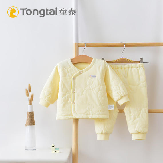 Tongtai baby thin cotton partial open suit cotton newborn baby clothes suit autumn and winter fresh