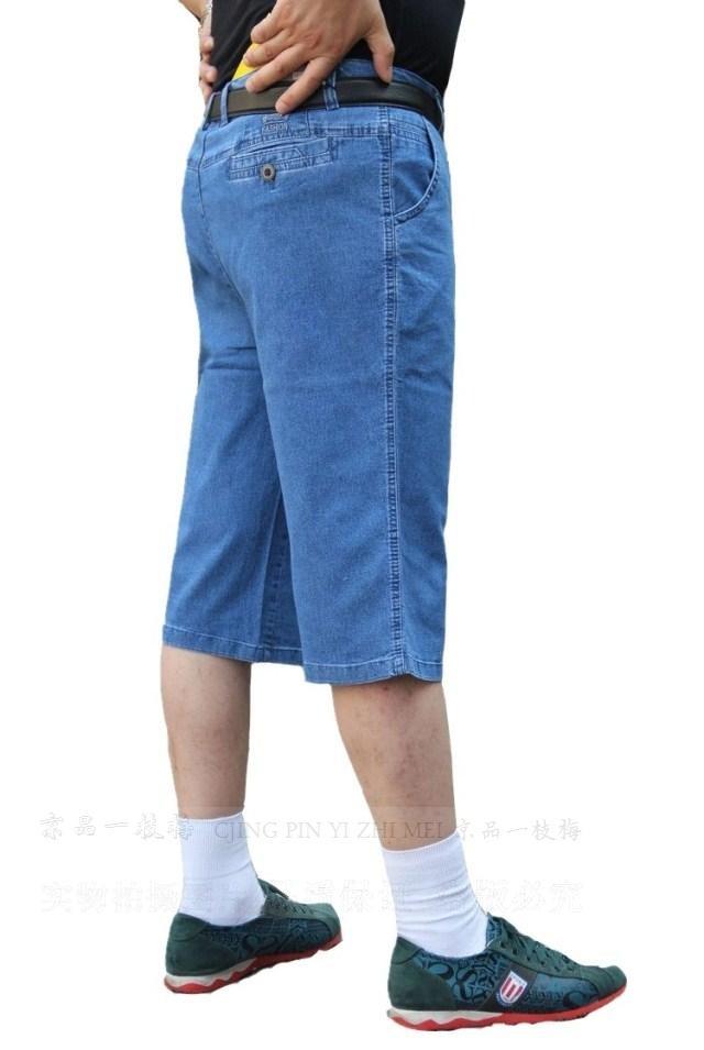 中年男士纯棉牛仔七分裤薄款高腰直筒裤宽松大码男裤中老年男短裤