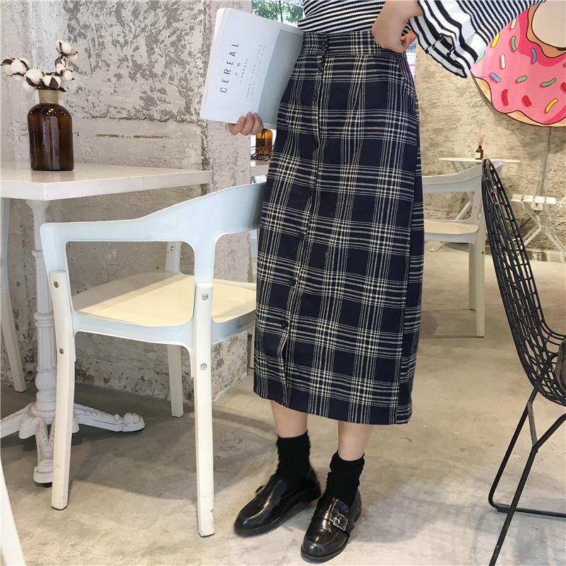 【上新优惠5元】韩国ulzzang原宿风bf秋冬新款中长款格子裙半身裙