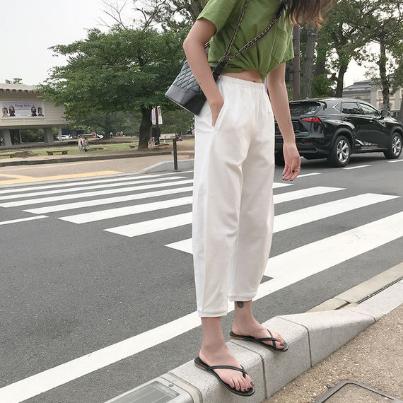 2018 summer new pants female students loose Korean version of ulzzang wild cotton Mahal nine pants thin section