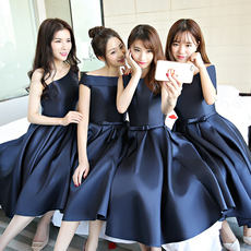 Evening dress in the long section 2018 new navy blue bridesmaid dress sisters skirt Slim graduation hosted thin dress female
