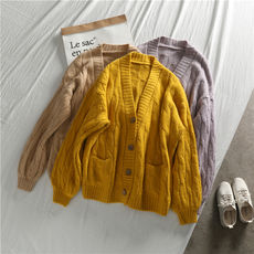 Lazy wind ~ retro wild loose thick line twist sweater coat button cardigan women V-neck knitted sweater