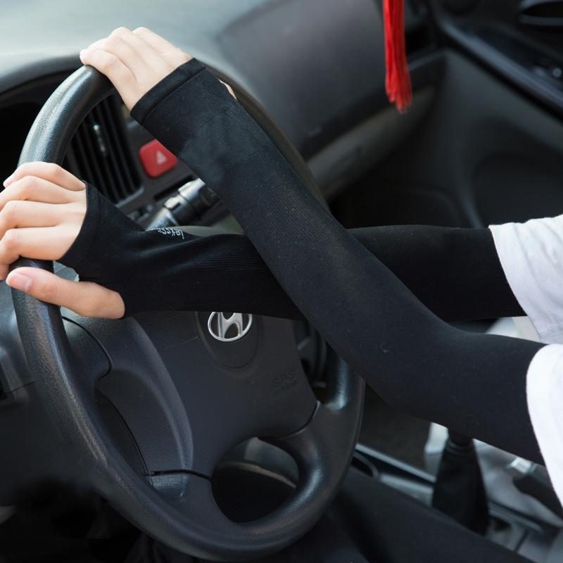 春夏防紫外线薄袖套防晒骑车开车半指手套户外长款遮阳护腕冰袖