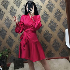 Autumn dress 2018 new fashion temperament V-neck long-sleeved satin slim waist slimming skirt dress female