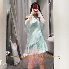 Alice McCall澳洲正品代购2018秋季新款蕾丝流苏挂脖露肩连衣裙女